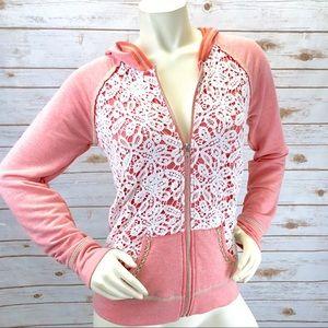 BKE Lounge Pink Crochet Zip Hoodie Sz S ::K18